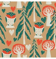 owl forest sreenprint vector image