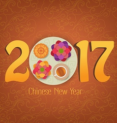 Chinese new year element blooming flower design vector