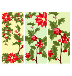 christmas decorative leaves holly card design vector image