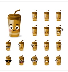 Collection of difference emoticon beverage drink vector image vector image