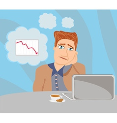 sad and thoughtful businessman sitting and using a vector image
