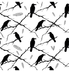 Seamless crows tree branches and feathers vector image