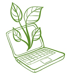A green laptop with an image of a green plant vector image vector image