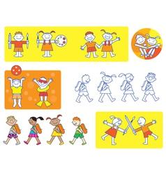 School kids icons vector image vector image