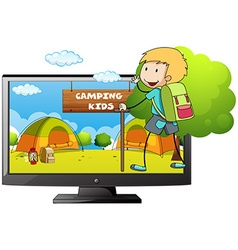 Boy going camping in the field vector image