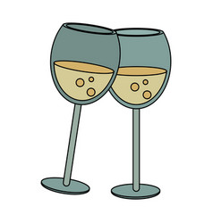 champagne toast cups vector image