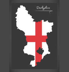 Derbyshire map england uk with english national vector