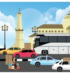 holiday vacation traffic jam congestion vector image