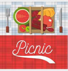 picnic basket food fork and knife poster vector image vector image