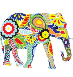 Silhouette of an elephant with indian designs vector