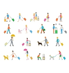 Travelers with suitcases on white background vector image vector image