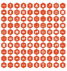 100 basketball icons hexagon orange vector