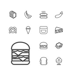 13 snack icons vector