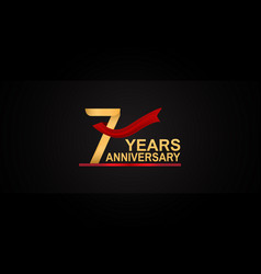 7 years anniversary design with red ribbon vector