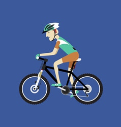 A biker riding a mountain bike vector