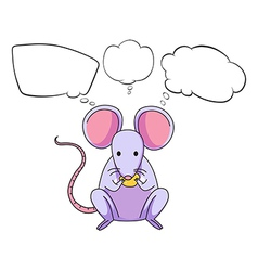 A mouse eating cheese with empty callouts vector image