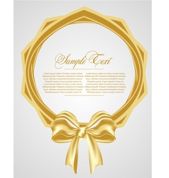 Abstract background with gold bow vector