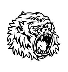 aggressive gorilla head tattoo vintage concept vector image