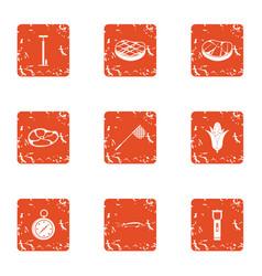 alimentation icons set grunge style vector image