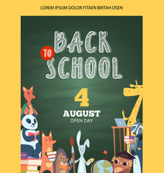 back to school poster open day party event vector image