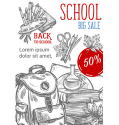 Back to school sketch autumn sale poster vector