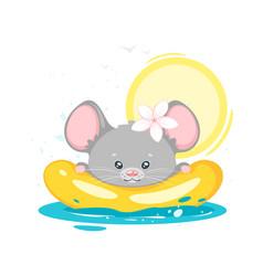 Bamouse swimming cartoon character vector