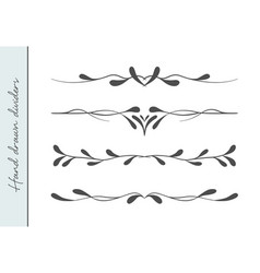 beautiful hand drawn elegant flourishes set vector image