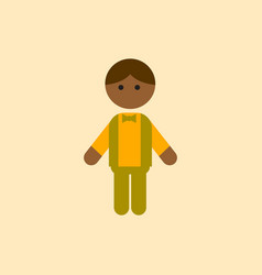 Black little boy kid child cute afro american vector