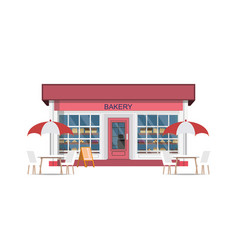 cafe street coffee shop with chairs and table vector image