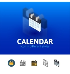 Calendar icon in different style vector image