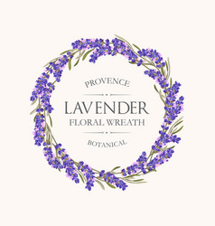 Card with lavender wreath vector