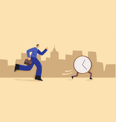 Cartoon businessman with briefcase run try catch vector