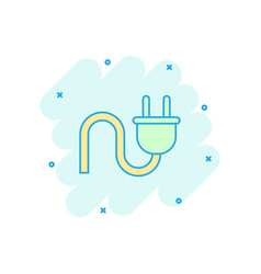 cartoon electric plug icon in comic style power vector image