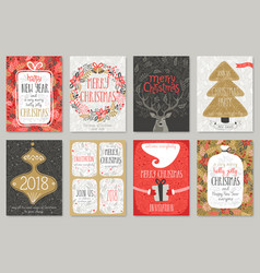Christmas hand drawn card set christmas hand vector