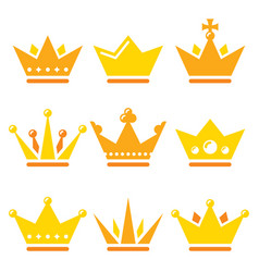 crown royal family icons set - design vector image