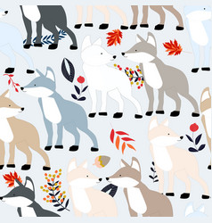 cute fox or dog seamless pattern vector image