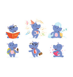 Cute hippo in different situations collection vector