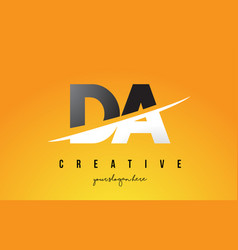 Da d a letter modern logo design with yellow vector
