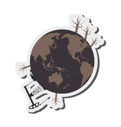 Earth contamination icon vector