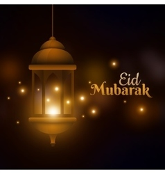 Eid Mubarak greeting card lamp on blurred vector image