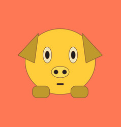 Flat icon on background kids toy pig vector