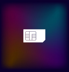 Flat paper cut style icon of a sim card vector