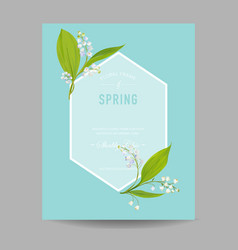 floral spring design template wedding invitation vector image