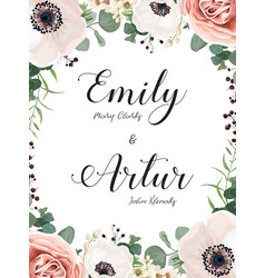floral wedding invitation invite elegant card vector image