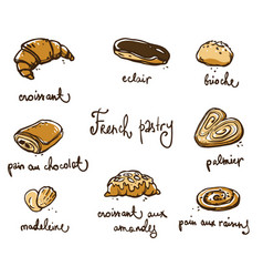French pastry traditional baked desserts vector