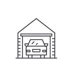 garage line icon concept garage linear vector image