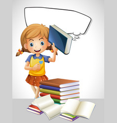 girl reading book and bubble template vector image