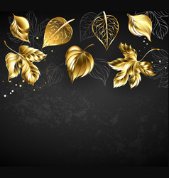 gold leaves on black background vector image