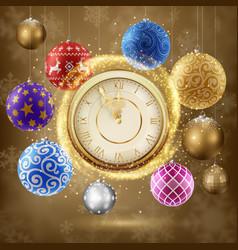 golden clock with christmas balls vector image