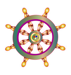 Golden dharma wheel buddhism vector
